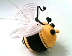 bee ornament decoration black and yellow striped single