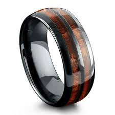mens ring barrel ceramic koa wood ring northernroyal