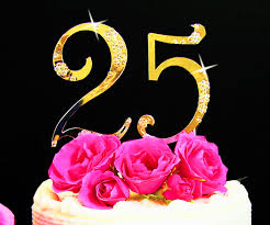 25th anniversary cake toppers flower small gold cake topper 25