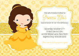 princess belle invitation princess party invitation princess