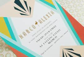 wedding invitations miami alexia marco s colorful miami deco wedding invitations
