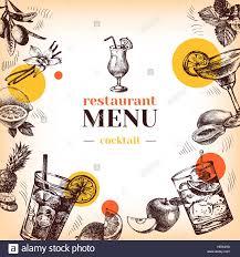 cocktail sketch vintage restaurant menu hand drawn sketch cocktails and fruits