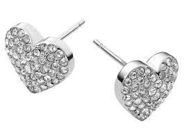stainless steel stud earrings michael kors mkj3026 pave heart silver stainless steel