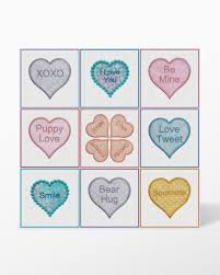 candy hearts go candy hearts machine embroidery set by marjorie busby