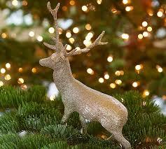 reindeer ornaments silver glitter reindeer ornament pottery barn