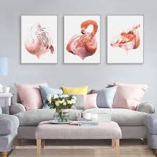 modern triptych watercolor animal flamingo posters nordic living