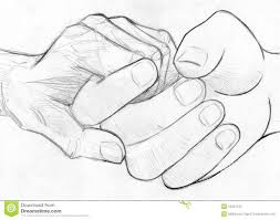 holding elderly hand pencil sketch stock illustration image