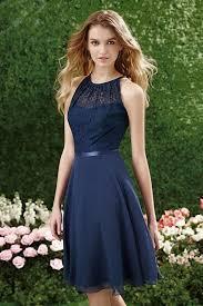robe pour mariage robe bleu marine col illusion en dentelle au genou pour cocktail