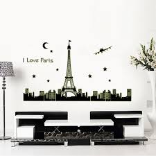Eiffel Tower Wall Decals Night Sky Eiffel Tower Moon Star City Building View Paris