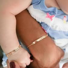 rose gold hand bracelet images Custom personalized baby bracelet hand stamped mom daughter son jpg