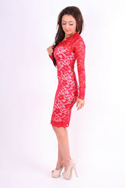 red long sleeved red lace inspired by kim kardashian midi dress