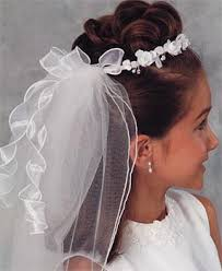 communion headpiece flower girl wreath with streamers communion veil headpiece