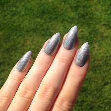 holographic silver u0026 glitter stiletto nails nail designs nail