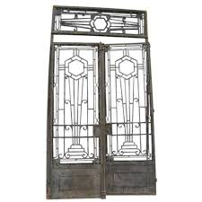 french colonial art deco iron double door gates with transom