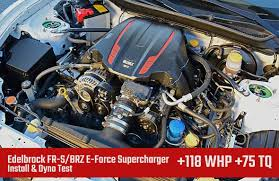 supercharged subaru wrx install dyno test edelbrock fr s brz e force supercharger 118 whp