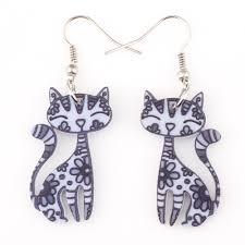 cat earrings bonsny drop cat earrings dangle acrylic pattern earring