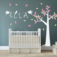 Baby Room Decals Baby Nursery With Tree Wall Decal And White Crib Baby Nursery