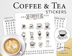 coffee planner stickers printable coffee and tea printable stickers for planner pdf printable