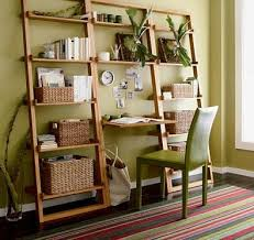 bamboo leaning bookcase and desk apartment therapy