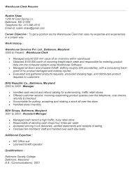 warehouse clerk resume cover letter view source job description