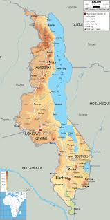 Africa Map Physical by Maps Of Malawi Map Library Maps Of The World
