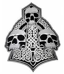 viking skulls mjölnir thor hammer embroidered giant back jacket