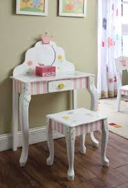 Pink Vanity Set Furniture White Pink Wooden Girls Vanity Set With Floral Paint