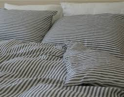 navy and white striped duvet cover natural linen custom size