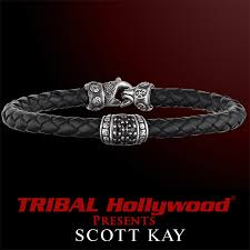 sterling silver leather bracelet images Black sapphire woven black leather bracelet by scott kay men 39 s png