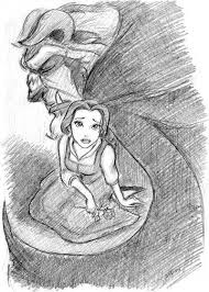 beauty and the beast disney drawings illustrations paintings