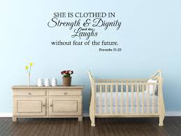 amazon com wall decal quote proverbs 31 25 she is clothed in