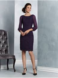 purple long sleeves short lace mother of the bride dresses 907007