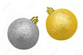 glitzy gold and silver christmas baubles isolated on white stock