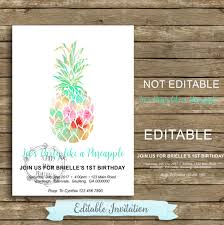Editable 1st Birthday Invitation Card Pineapple Birthday Invitation Party Like A Pineapple Invitation