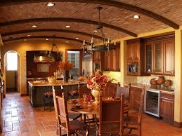 Mediterranean Tiles Kitchen - drop ceiling tiles kitchen mediterranean with leather dining