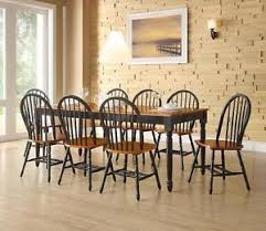 9 piece dining set farmhouse table with leaf and 8 windsor chairs