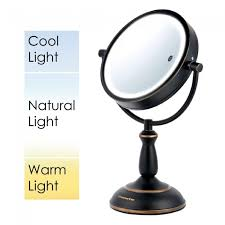 Tabletop Vanity Mirror With Lights Ovente Mpt75bz 1x10x 7 5 Inch Smarttouch Three Tone Led Makeup