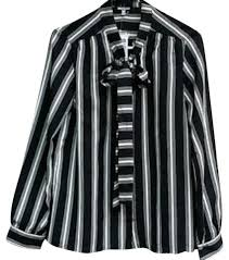 black and white striped blouse russe black white striped blouse button top size 8