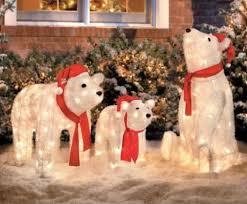 set of 3 lighted santa polar bears display outdoor