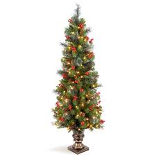 4 5 faux tree with white lights berries in urn