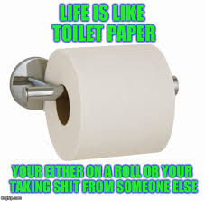 Toilet Paper Roll Meme - life is like toilet paper your either on a roll or your taking shit