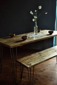 Hairpin Leg Dining Table Hairpin Leg Table And Bench With Modern Chairs My Dream Set Up