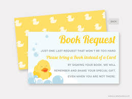 rubber duck book request card baby shower printable rubber