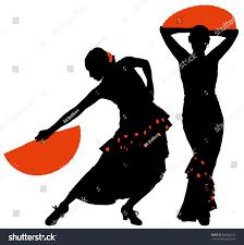 two silhouettes female flamenco dancer stock vector 382660216