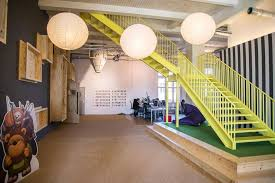 Creative Office Space Ideas Office Dazzling Office Design With Yellow Fence Staircase And