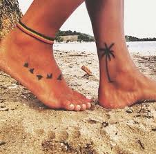 flying sparrow ideas palm tree ankle tanklet tat