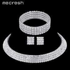 engagement jewelry sets bridal jewelry sets silver plated with rhinestone necklace