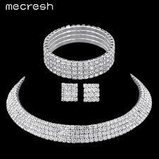 rhinestone necklace sets wholesale images Luxury crystal bridal jewelry sets silver plated with rhinestone jpeg