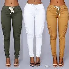 High Waisted Colored Jeans 2017 2017 New Fashion Solid Colors Women Pencil Stretch Casual