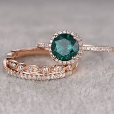 emerald gemstone rings images 3pcs emerald engagement ring set 14k rose gold diamond wedding jpg